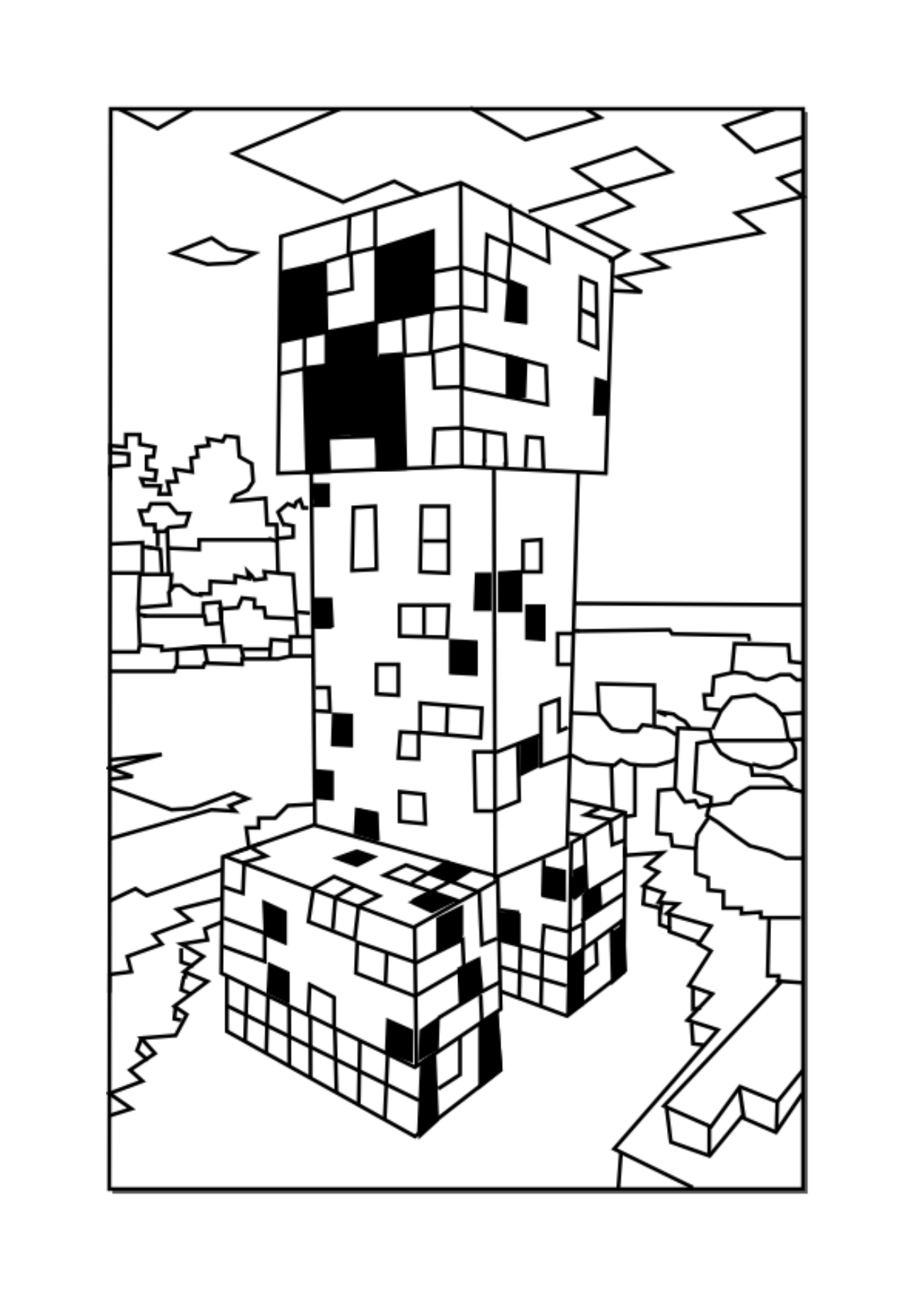 Creeper Minecraft Coloring Page | Minecraft coloring pages, Horse ... | 1832x1295