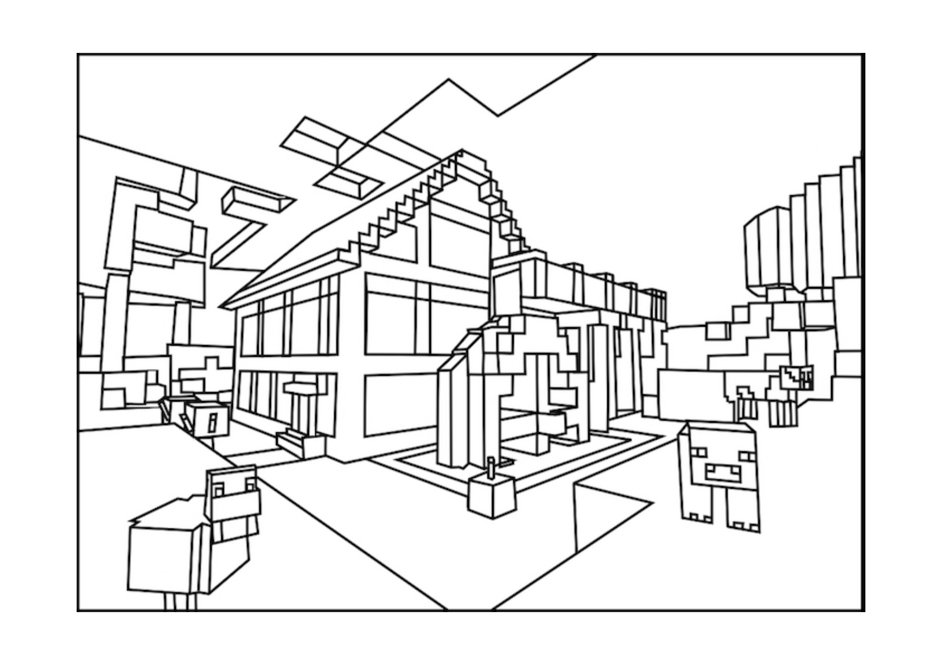 - Minecraft World Minecraft Coloring Pages For Kids