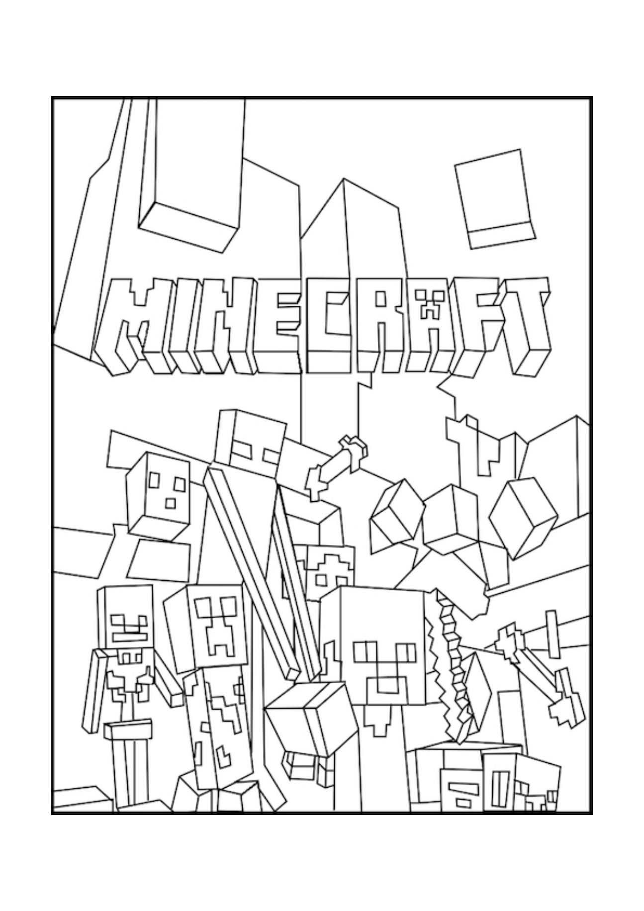 - Minecraft Mobs A Minecraft Coloring Page For Kids