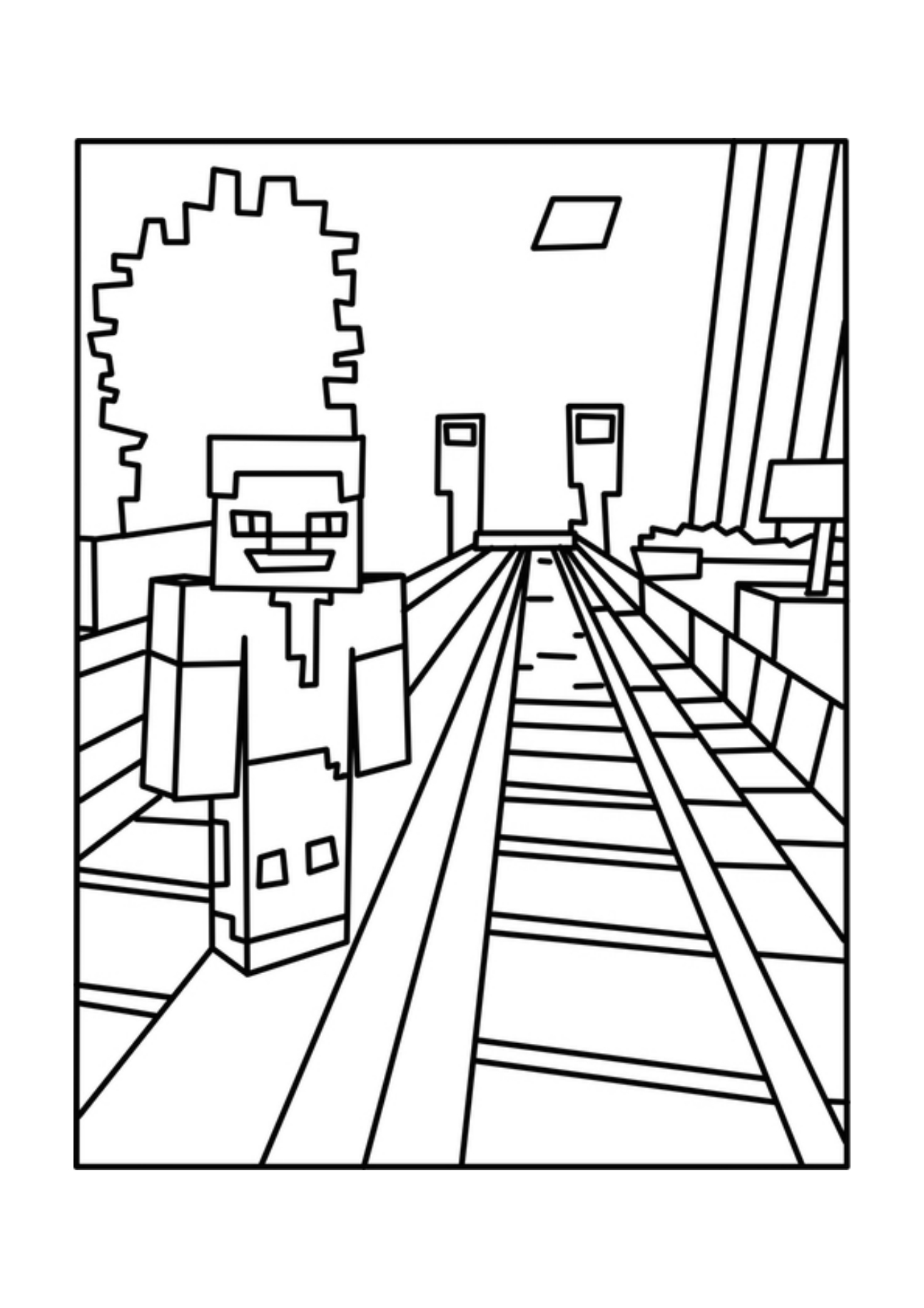 Minecraft Rail Minecraft Coloring Pages For Kids