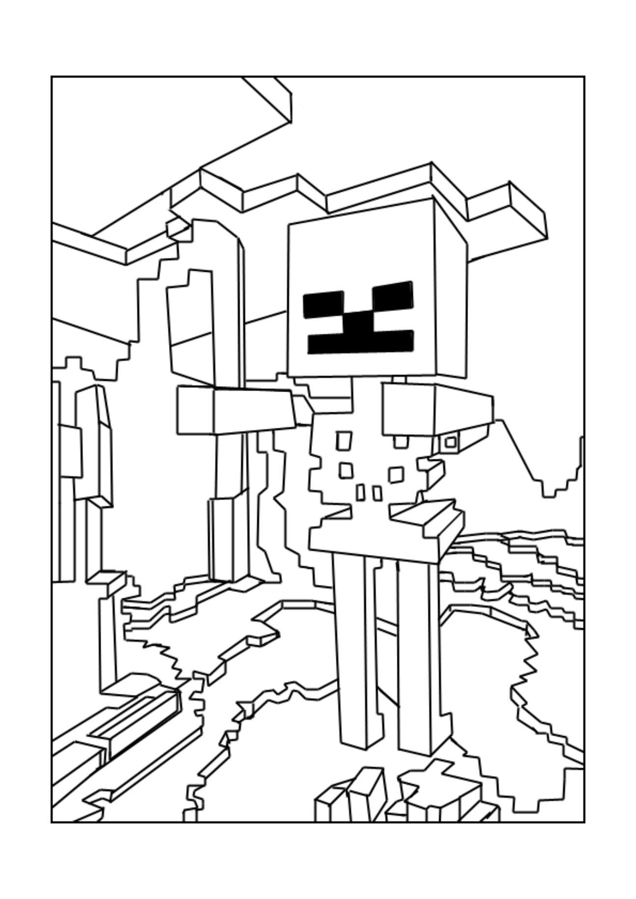 Minecraft Skeleton | A Printable, Free Coloring Picture ...