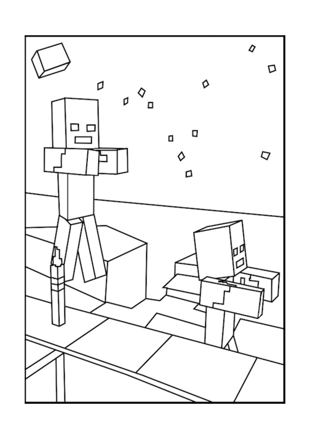minecraft zombies free printable minecraft coloring pages